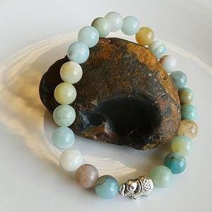 7.5 inch, 8mm Amazonite & Elephant bead bracelet